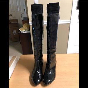 Via Spiga Black Leather wet Slicker Tall Boots 7.5